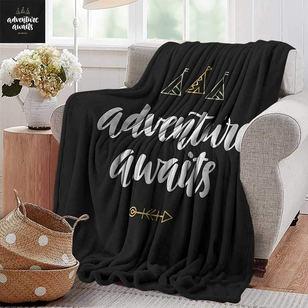 """PearlRolan Luxury Flannel Fleece Blanket,Quote,Adventure Awaits Modern Calligraphy with Doodle Tents and an Arrow,Black White and Pale Orange,All Season Light Weight Living Room/Bedroom 60""""x80"""""""
