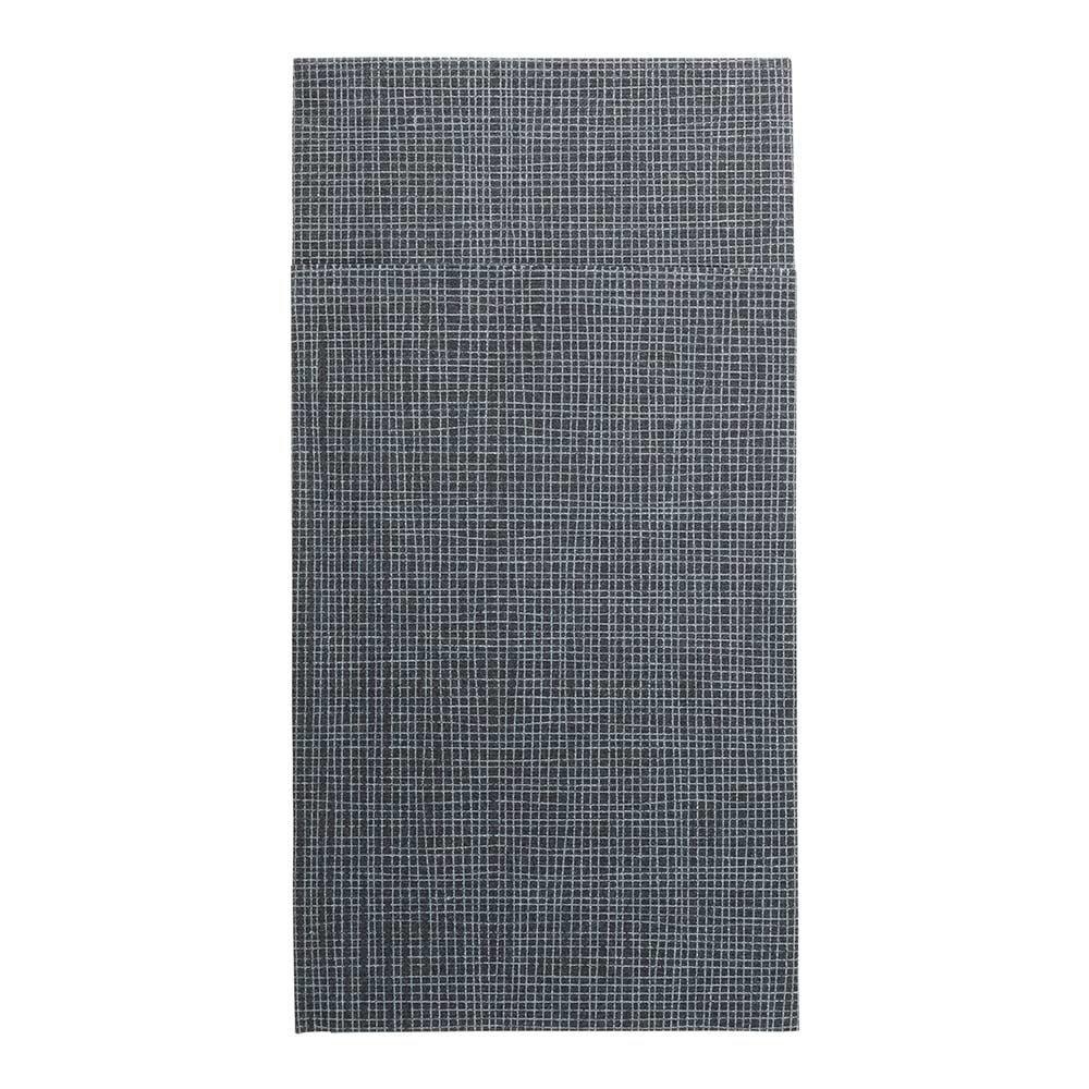 Kangaroo Paper Napkins, Dinner Napkins, Flatware Pocket - Black with White Threads - 16'' x 16'' - Disposable - Luxenap Air Laid - 480ct Box - Restaurantware