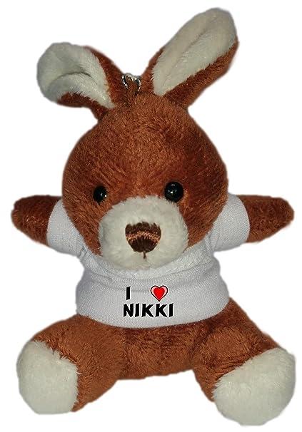 Conejito de peluche (llavero) con Amo Nikki en la camiseta (nombre de pila
