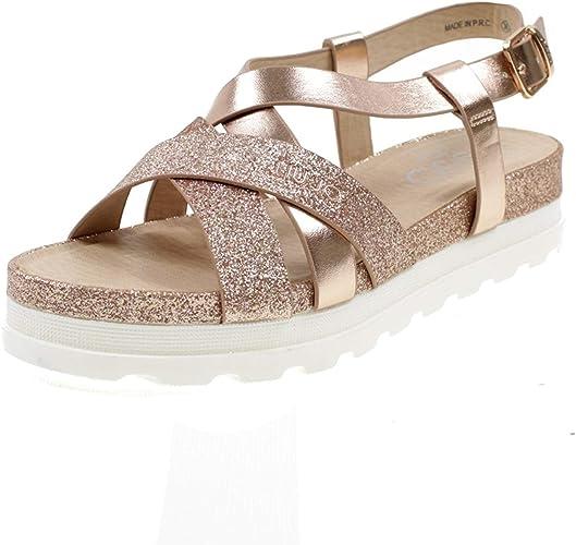 LIU JO GIRL Sandalo Incrocio Laminato e Glitter Color Cipria