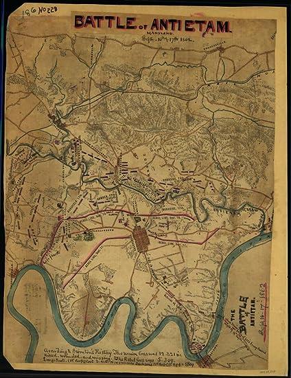 Amazon.com: Vintage 1862 Map of The Battle of Antietam, Septr. 16th on