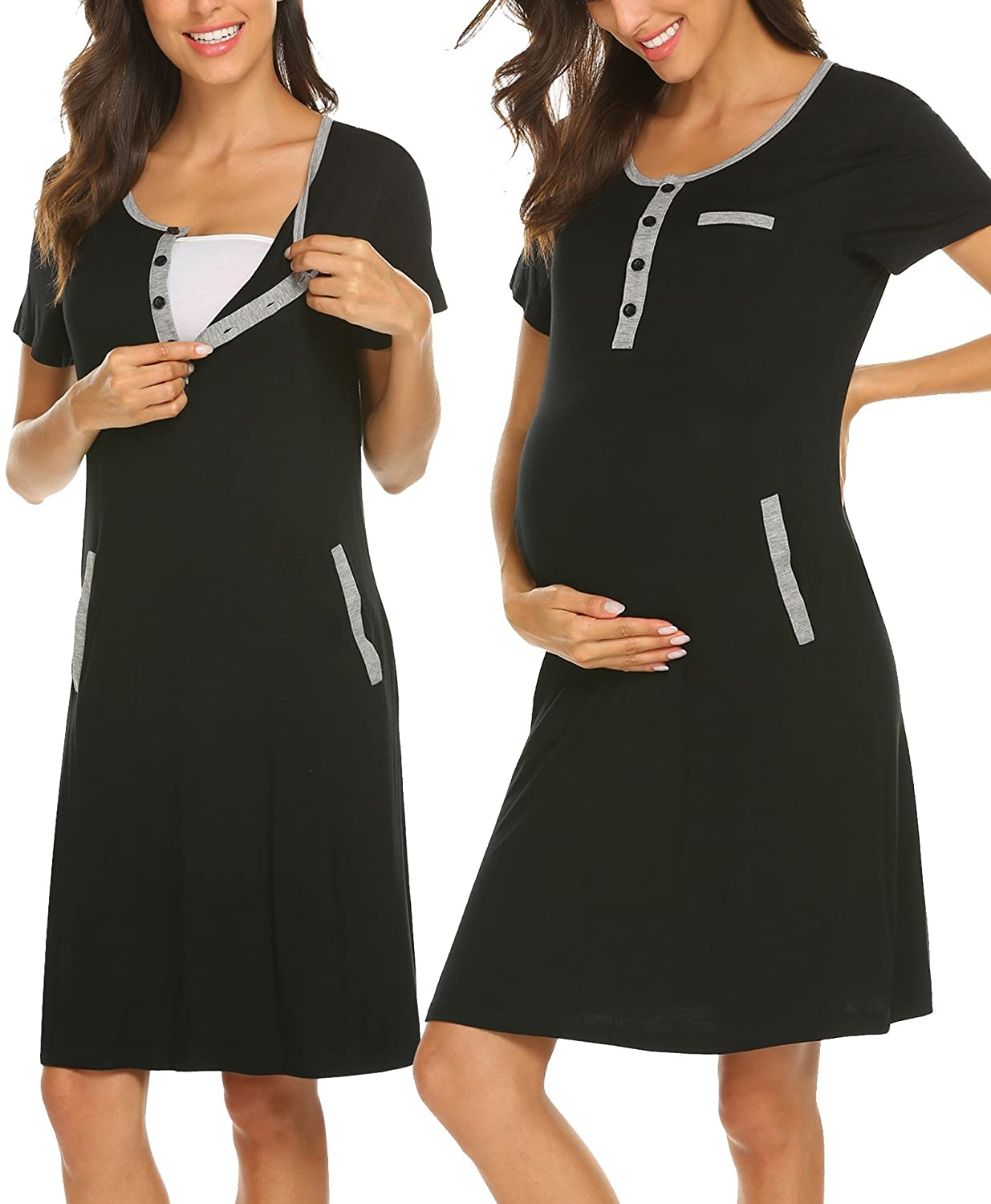 3b480c4e275 High Quality: soft and comfortable cotton fabric, comfy night dress for  Nursing and Maternity Round neck , short sleeve, bottom down collar, ...