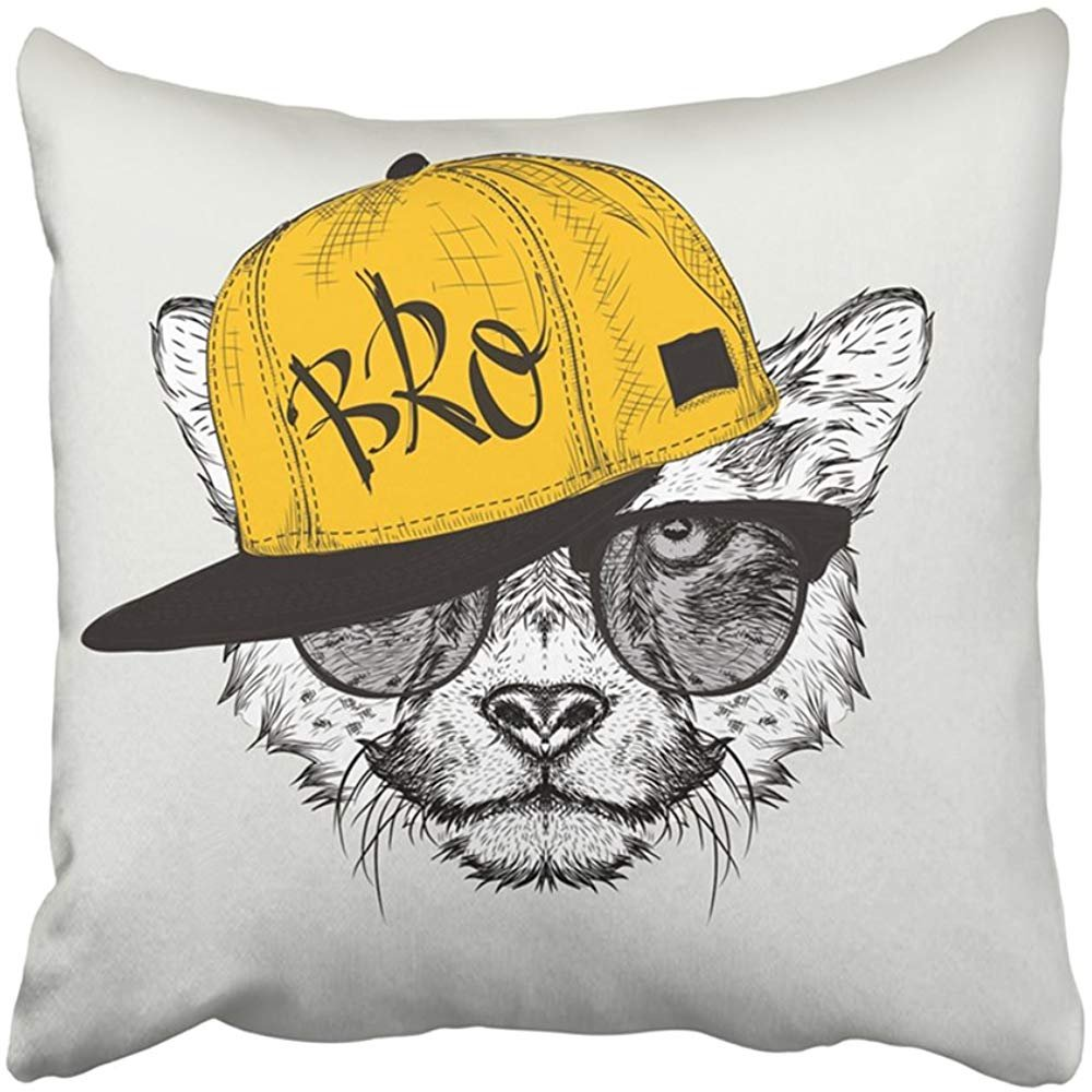 Throw Pillow Cover Polyester 18X18 Inches Animal The With Cheetah Portrait In Hip Hop Hat Hipster Cap Cunning Cute Dollar Drawing Decorative Cushion Pillow Case Square Two Sides Print For Home