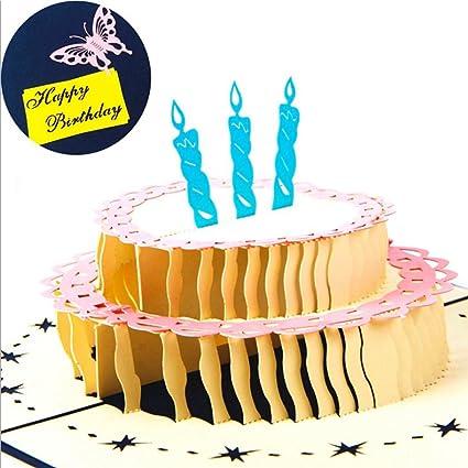 Tarta de cumpleaños 3d tarjeta de felicitación - en blanco ...
