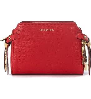 727a7ea7a7d MICHAEL Michael Kors Womens Bristol Leather Messenger Handbag Red Medium
