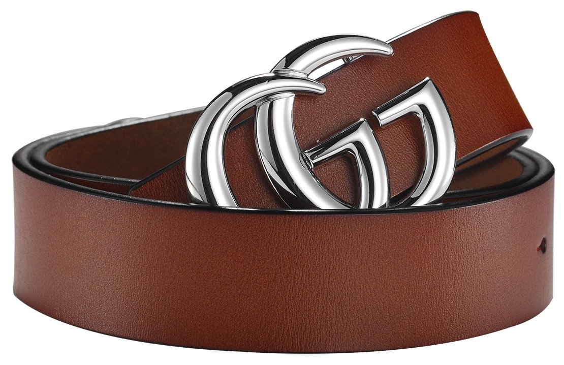 G-Style Silver Buckle Unisex Mens Womens Fashion Belt ~ 3.8cm Belt Width (110cm (Waist 32''~38'' or Below), Brown)