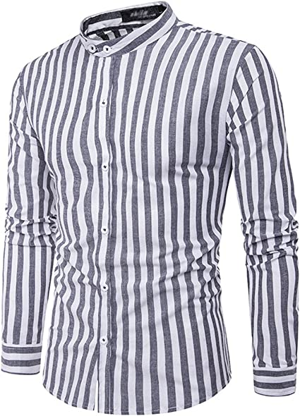 Buluke Los hombres Casual/Diario rayas camisa manga larga, raya negra, L: Amazon.es: Ropa y accesorios