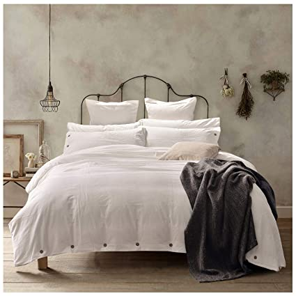 Amazon Com Doffapd Duvet Cover Queen Washed Cotton Duvet Cover Set 3 Piece Queen Off White Home Kitchen
