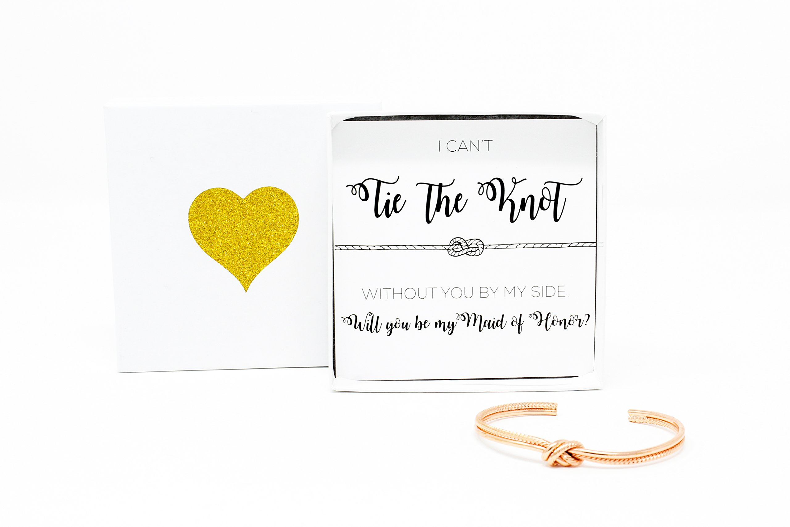 Bridesmaid Gifts - Tie The Knot Maid of Honor Bracelet w/Gift Box, Sailor Bridal Party Gift Sets, Adjustable Love Knot Cuff Bracelet (Gold, Rose Gold, Silver) (Rose Gold)