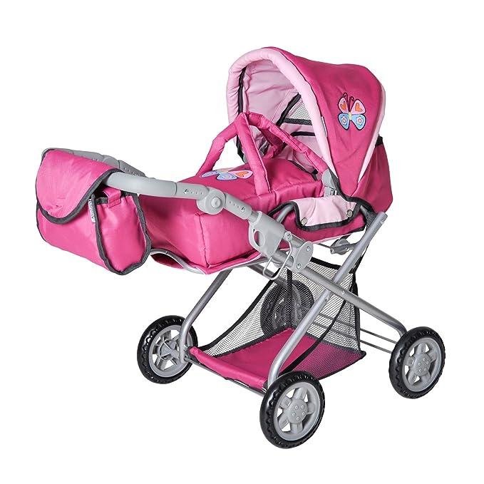 Knorrtoys 61888 - Cochecito de paseo Kyra para muñecas con diseño rosa de mariposas y altura ajustable (a partir de 3 años)