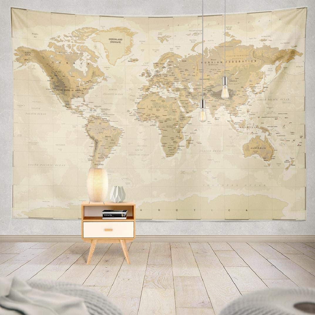 Summor Wall Tapestry, Wall Hanging Tapestry Map World Vintage Medieval Tapestry Asia Europe South City Topography America Africa Japan Brown New 60X60 Inches for Living Room Wall Decor Bedroom