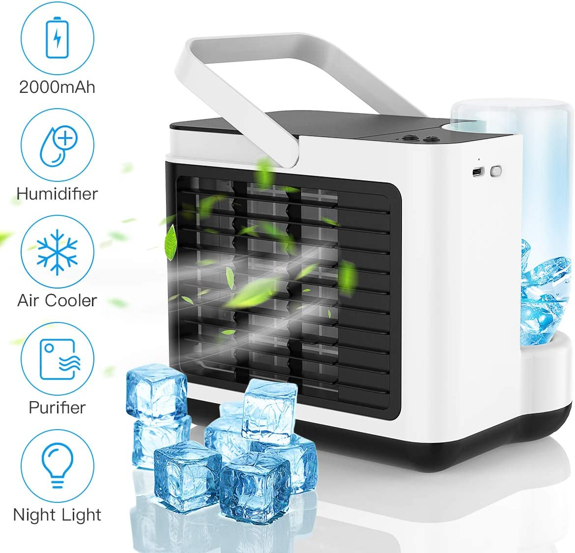 Personal Air Cooler,Portable Air Conditioner Fan,USB Rechargeable Quiet Mini Cooling Fan,Small Desktop Cooler Fan, Evaporative,Humidifier,Purifier with LED Light 3 Speed for Home,Office,Bedroom-White