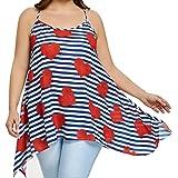 96831343b1ded Anxinke Women Plus Size Stripe Spaghetti Strap Vest Shirts Long Loose  Camisole Tank Top