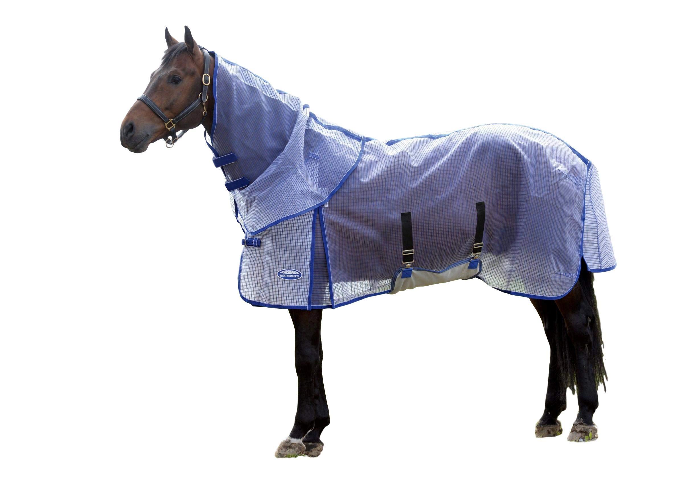 Weatherbeeta Comfitec Ripshield Plus with Belly Wrap Detach A Neck, White/Blue, 81''