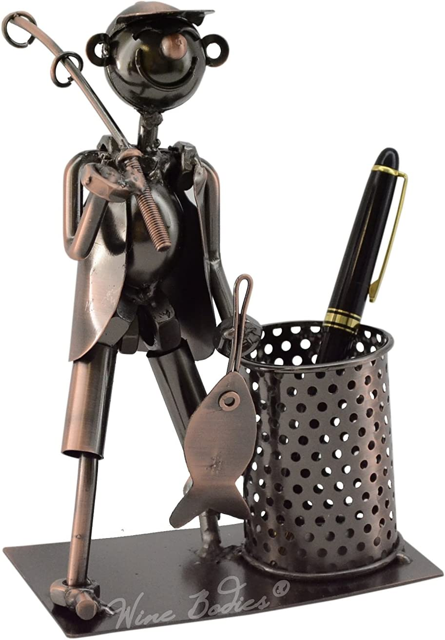 Fisherman with Fishing Pole and Fish Metal Pen or Pencil Holder