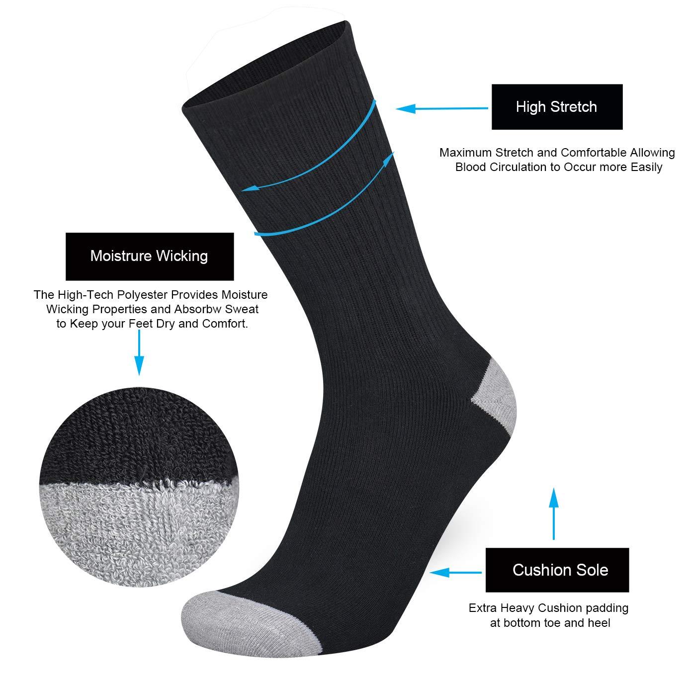 KIRINLAND Mens 10 Pack of Cotton Moisture Wicking Extra Heavy Cushion Athletic Work Crew Socks