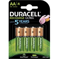 Duracell Ultra 5000688 AA Rechargeable Batteries 2500 mAh (Pack of 4, Green)