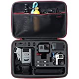 HSU Large Carrying Case for GoPro Hero(2018),HERO6,5,4,+LCD, Black, Silver, 3+, 3, 2 and Accessories with Fully Customizable Interior Carry Handle and Carabiner Loop