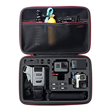 Large Carrying Case for GoPro Hero(2018),Hero 8 Hero 7 Black,HERO6,5,4,+LCD, Black, Silver, 3+, 3, 2 and Accessories by HSU with Fully Customizable Interior Carry Handle and Carabiner Loop
