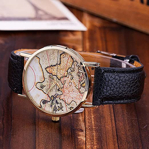 Amazon.com: Womens Mens Unisex Map Watch,COOKI Unique Quartz Analog Fashion Clearance on Sale Casual Wrist Watches for Women Men,Round Dial Case Comfortable ...