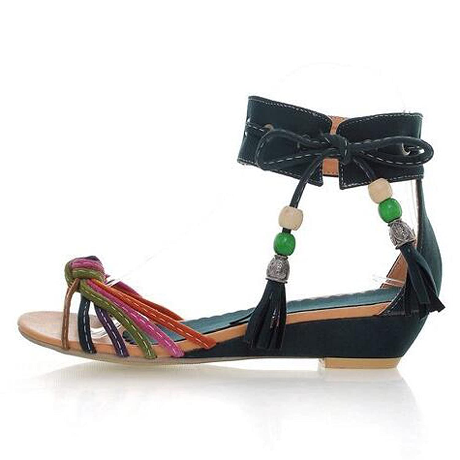 Women Colored beaded sandals Summer Soft Leather Leisure Lady Sandals Roman  Shoes: Amazon.co.uk: Shoes & Bags