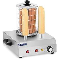 Royal Catering Appareil à Hot-Dog Machine a Hot Dog Professionnel RCHW-350-2 (422 W, max. 30 saucisses, 2 pics chauffants, température jusqu'à 97 °C, acier inoxydable, verre trempé)