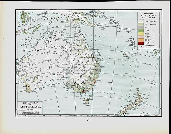 Australia Map Detailed.Amazon Com Australia Population Distribution New Zealand 1917