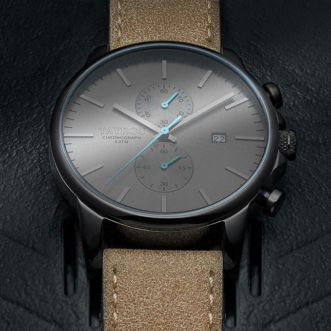 Reloj hombre RELOJ tayroc Iconic Black Classic cronógrafo acero inoxidable cuarzo banda de cuero reloj de pulsera txm097: Amazon.es: Relojes
