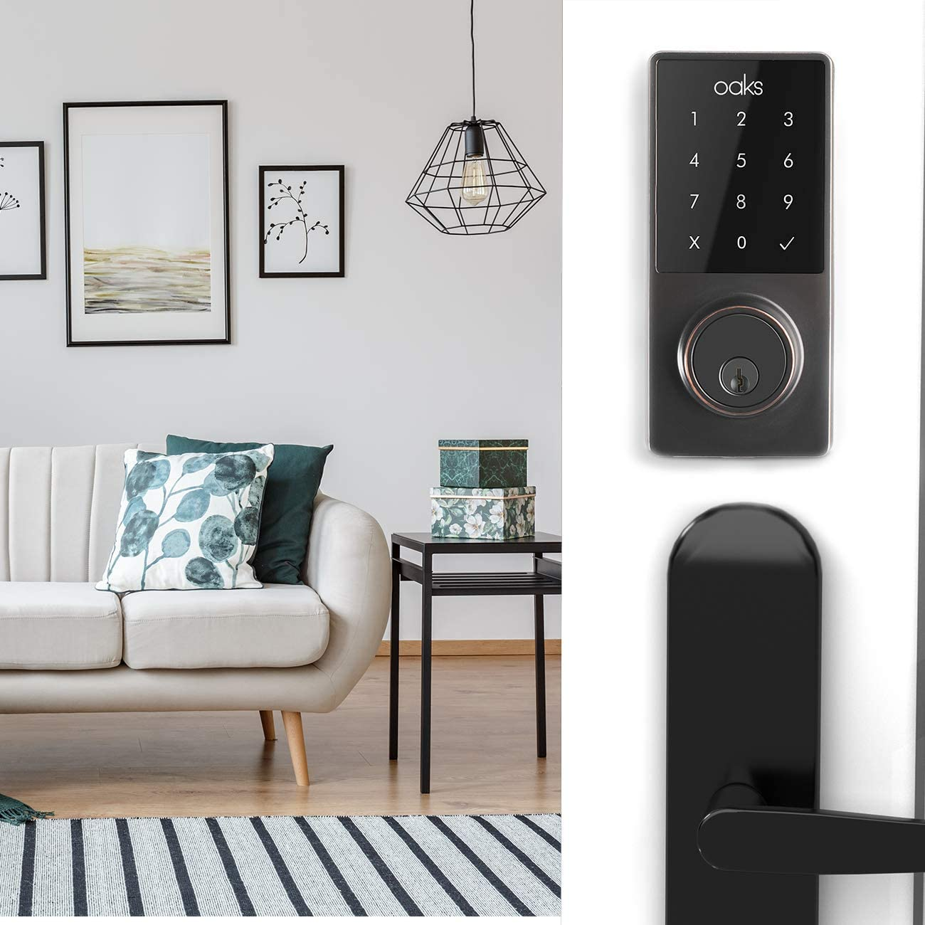 Oaks Smart Lock, Electronic Front Door Deadbolt, Bluetooth, Code and Fob Entry, Keyless Access, Smart Phone App Unlock, Great for Airbnb Vacation Rentals, Easy to Install Black