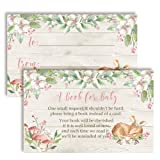 """Little Deer Woodland Themed """"Bring A Book"""" Cards for Girl Baby Showers, 20 2.5"""" X 4"""" Double Sided Insert Cards by AmandaCreation, Invite Guests to Bring A Book for The New Arrival!"""
