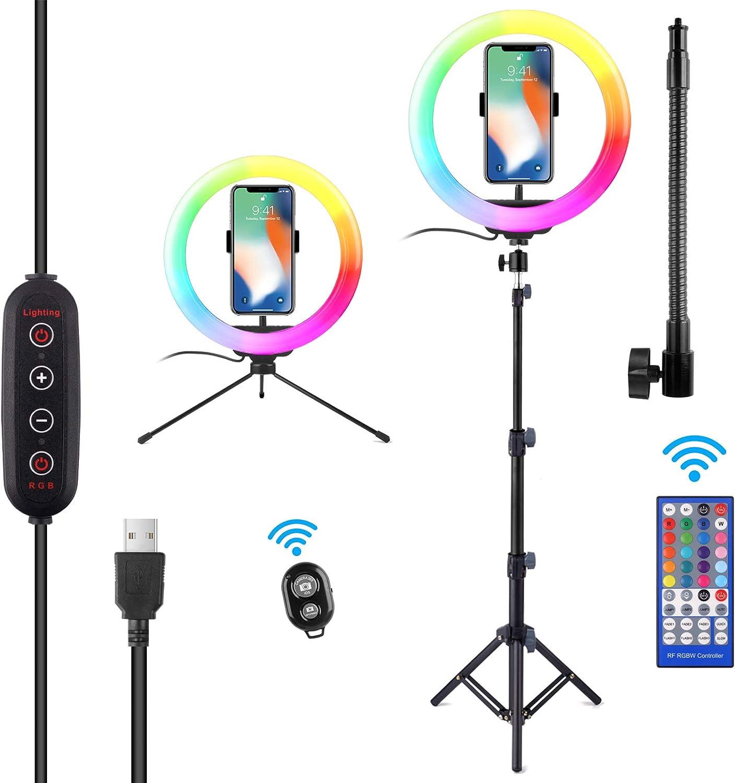 "10"" RGB Selfie Ring Light, SRUIM Desktop RGB Flash Ring Light with Tripod Stand & Cell Phone Holder, LED Dimmable Desktop Beauty Selfie Light for YouTube Video, Live Stream, Makeup"