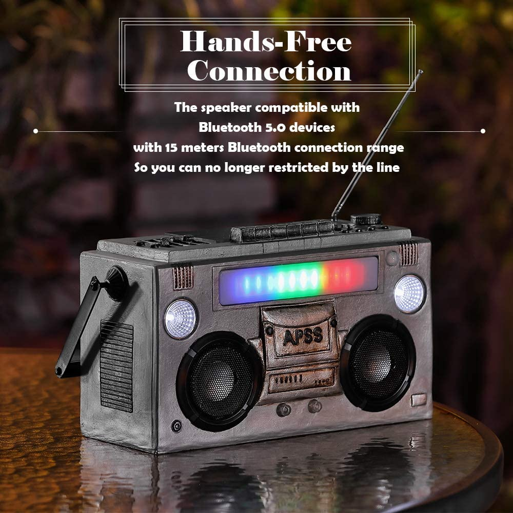 Party Backyard Garden Beach Classic Retro Radio Shape Home Decor Portable Wireless Waterproof Bluetooth Speakers for Gift Office HAVEONE Solar Bluetooth Speakers with Sensor Lights