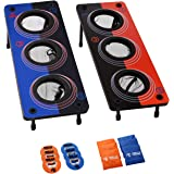 2 in 1 Bag and Washer Toss Game by Rally and Roar - 14 Piece Outdoor Game Set - 26in x 10in Targets - 3 Varying Size…