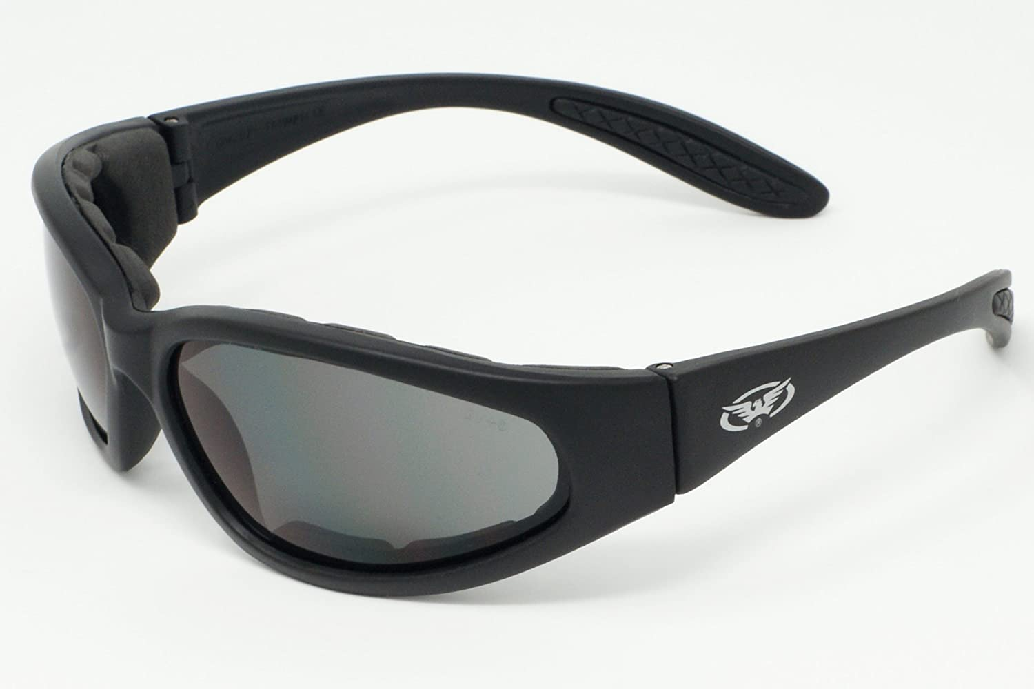 Motorcycle wraparound sunglasses with E.V.A foam lining and shatterproof anti fog lenses complete with free microfibre storage pouch. Global Vision