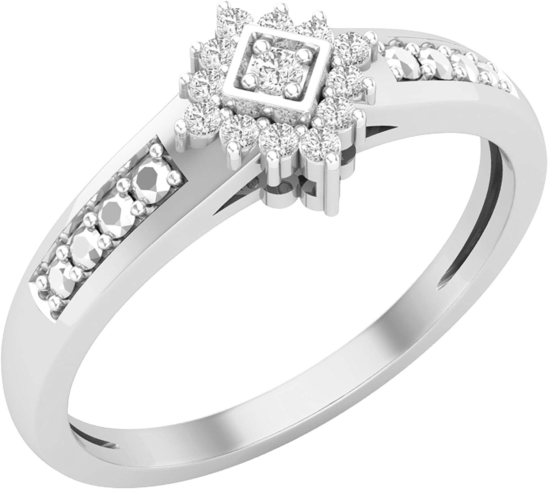 Dazzlingrock Collection - Anillo de compromiso para mujer (0,10 quilates (ctw), diseño de racimo de diamantes blancos redondos de 1/10 quilates, disponible en oro de 10 K/14 K/18 K y plata de ley 925