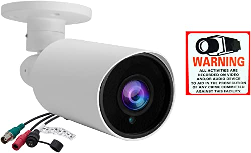 Evertech Full HD 1080P 2.1MP 2.8-12mm Manual Zoom Bullet Outdoor Security Camera IR LED Night Vision Indoor Outdoor Waterproof 4 in 1 for AHD TVI CVI Traditional Analog DVR with Free CCTV Warning Sign