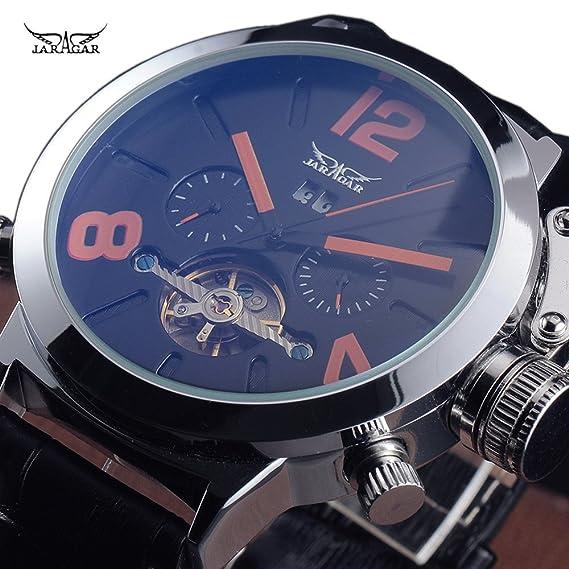 JARAGAR de los hombres de moda de lujo estilo Tourbillon mecánico banda de cuero reloj de