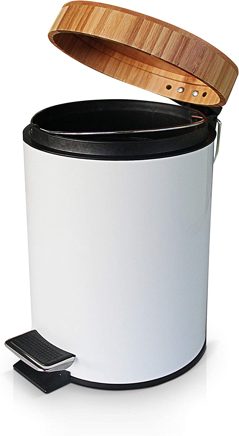 VORZAVARRI 3 Litre/0.8 Gallon Small Compact Round Metal Trash Can, Garbage Bin with Soft Closing Bamboo Lid, Removable Inner Wastebasket, Foot Pedal – for Bathroom, Kitchen, Home Office.