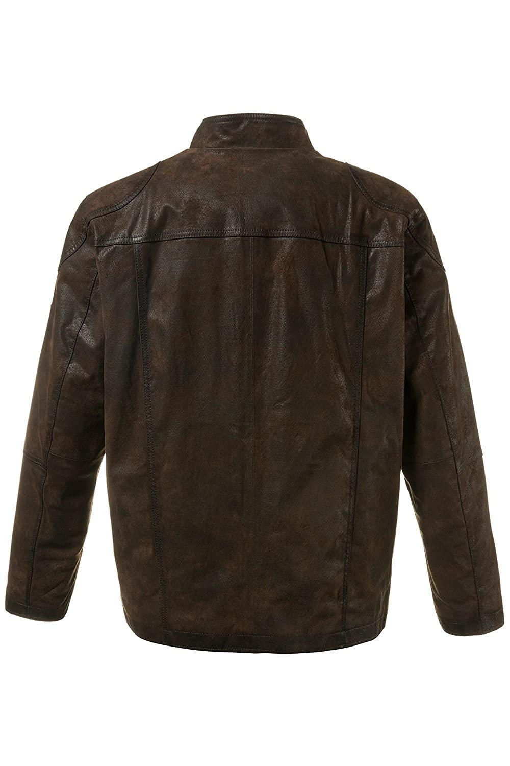 JP1880 Men's Big & Tall Full-Zip Leather Biker Jacket 708448