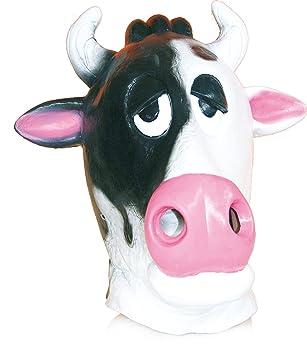 Ciao 21089 – Vaca máscara de látex, blanco/negro