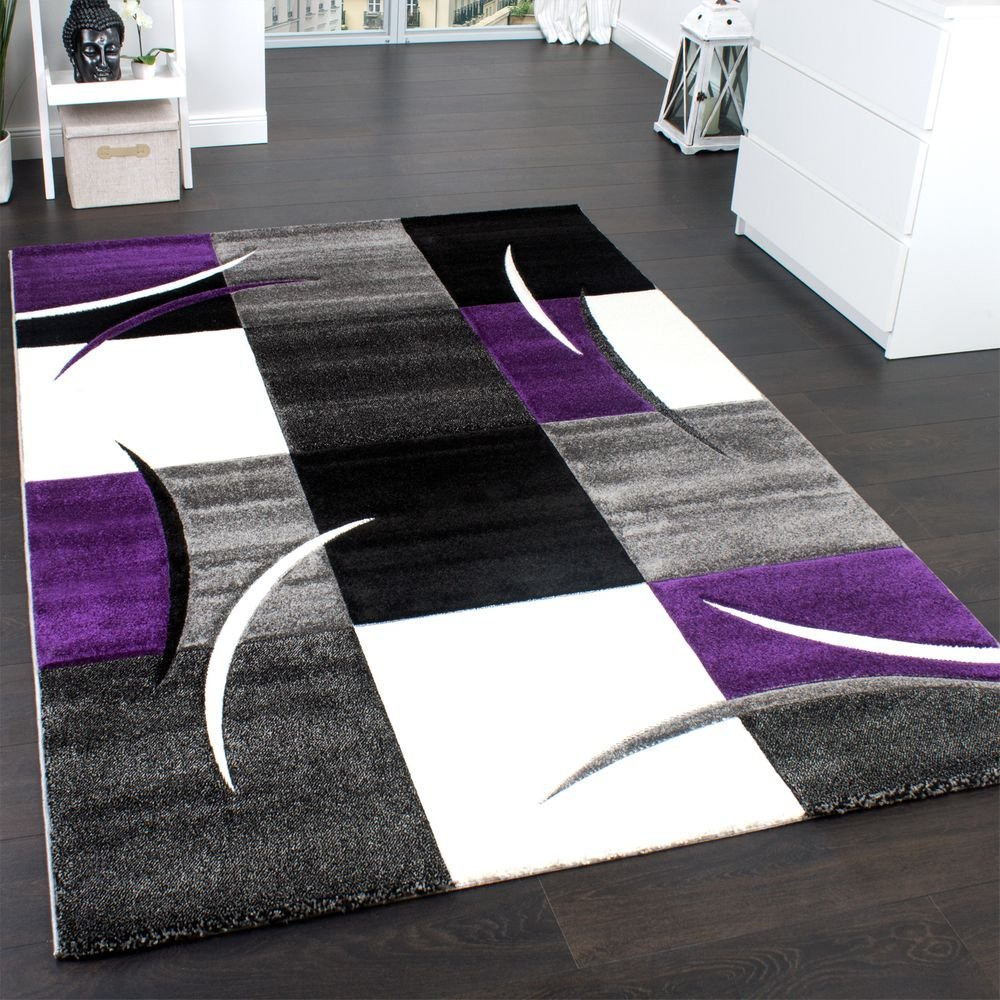 PHC Designer Teppich Mit Konturenschnitt Trend Teppich Modern Kariert Lila Schwarz Grau, Grösse 160x230 cm