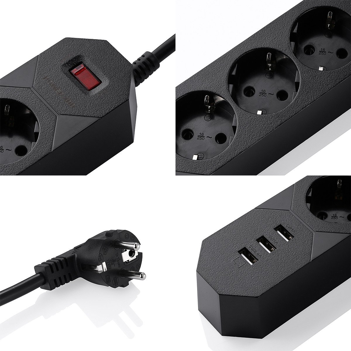 Update POWERADD Cordon 1.8 m/ètres Multiprises Parasurtenseur//parafoudre Support QC3.0 USB 5-Outlet Power Strip avec 4 Ports USB de Recharge avec Un QC3.0 USB de Recharge