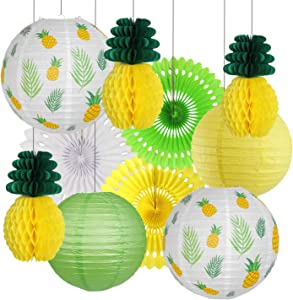 Pineapple Party Decorations, Hawaiian Party Supplies Tropical Leaves Hanging Paper Lanterns Pineapple Honeycomb Tissue Paper Fans for Birthday Luau Summer Party Home Decoration Party (Yellow)