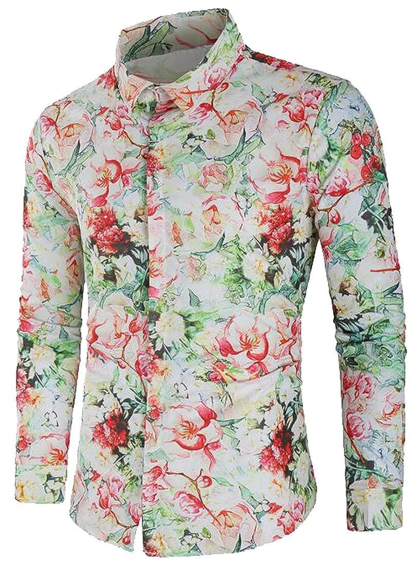 cc466abb676 FSSE Men Button Down Long Sleeve Casual Business Slim Floral Print Dress Work  Shirt at Amazon Men s Clothing store