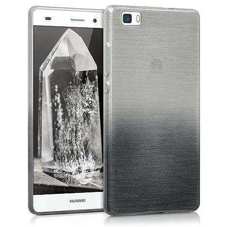kwmobile Funda para Huawei P8 Lite (2015) - Carcasa de [TPU] para móvil y diseño de Aluminio Degradado en [Antracita/Plata]