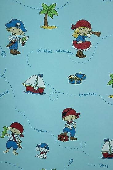 Vlies Tapete Piraten Kinder Zimmer Schiff Insel Schatzkiste blau ...