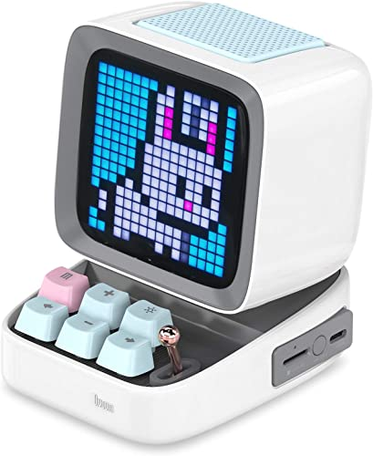 Divoom Ditoo Pixel Art Portable Bluetooth Speaker with App Controlled 16X16 LED Front Panel White