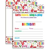 Amazon celebrate with musical instruments birthday party fill dance and play musical themed birthday party celebration fill in invitations set of 10 filmwisefo