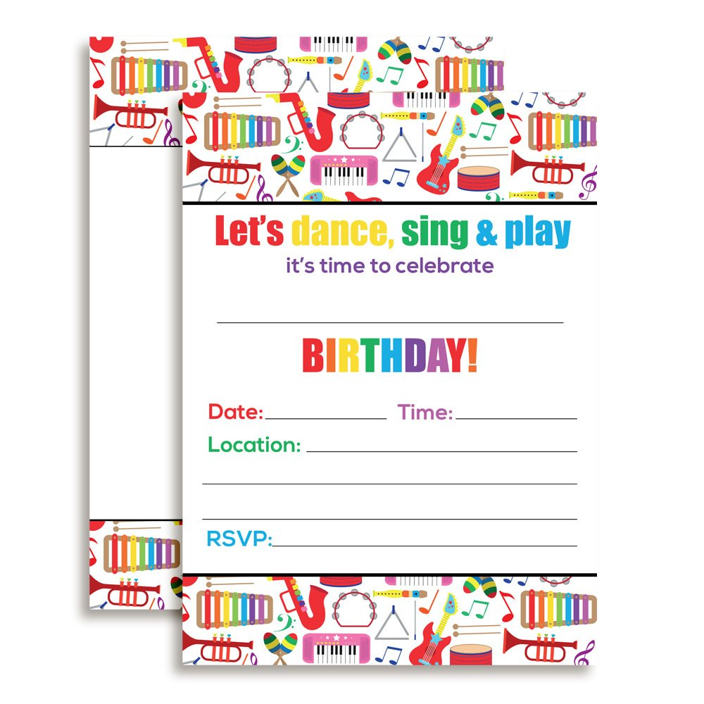 Dance and Play Musical Themed Birthday Party Celebration Fill In Invitations set of 20 by Amanda Creation (Image #1)