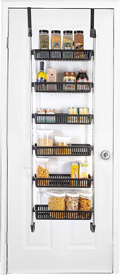 Amazon Com Smart Design Over The Door Pantry Organizer Rack W 6 Baskets Steel Resin Construction W Hooks Hanging Cans Spice Storage Closet Kitchen 18 5 X 63 2 Inch Black